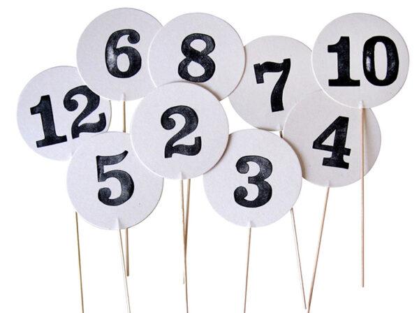 Tischnummern zur Hochzeit
