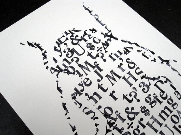 Grafik aus Buchstaben Typografie Käfer von renna deluxe