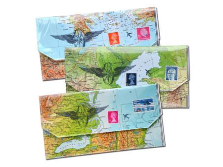 Reiseetui fuer ticket reisepass vintage weltkarte atlas von renna deluxe