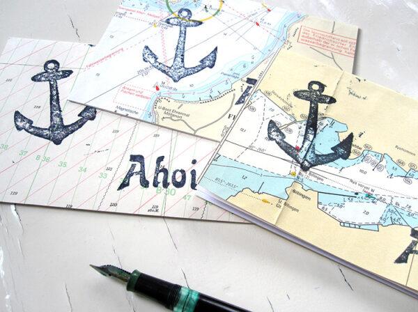 Anker ahoi echte Seekarte Klappkarte grusskarte von renna deluxe vintage papier