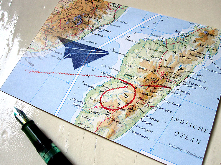 Atlas Papier-Flieger Klappkarte grusskarte von renna deluxe vintage papier