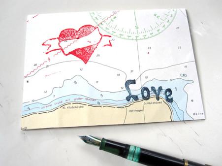 Herz love echte Seekarte Klappkarte grusskarte von renna deluxe vintage papier