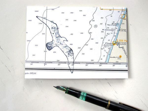 Möwe ahoi echte Seekarte Klappkarte grusskarte von renna deluxe vintage papier