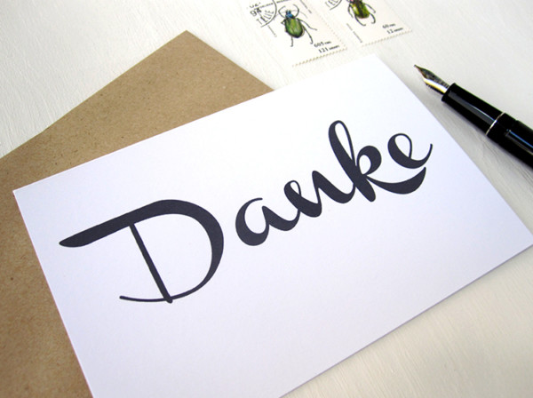 DANKE karte klappkarte mit Handlettering von renna deluxe