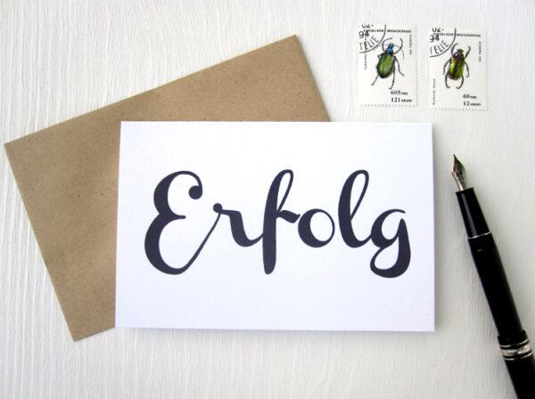 ERFOLG karte klappkarte mit Handlettering von renna deluxe