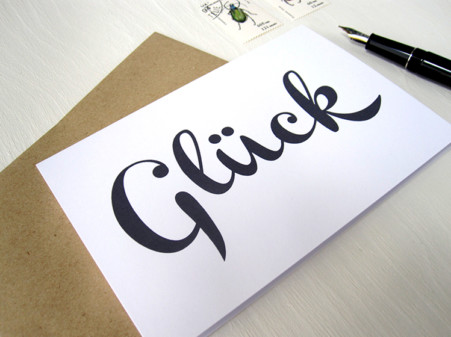 GLÜCK, Love, Liebe, karte mit Handschrift, Calligraphie, Typographie,von renna deluxe