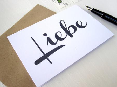 Liebe, karte mit Handschrift, Calligraphie, Typographie,von renna deluxe