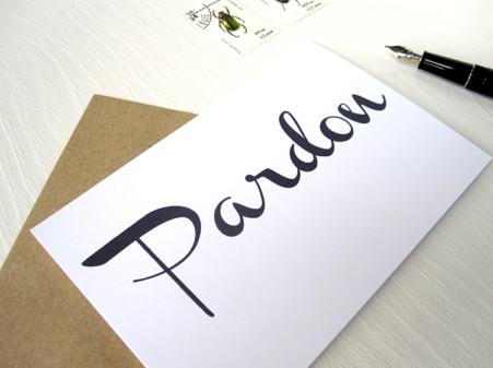 PARDON, HURRA, LOVE, Karte mit Handschrift, Calligraphie, Typographie,von renna deluxe