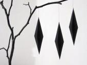 Baumschmuck schwarz papier spindel raute