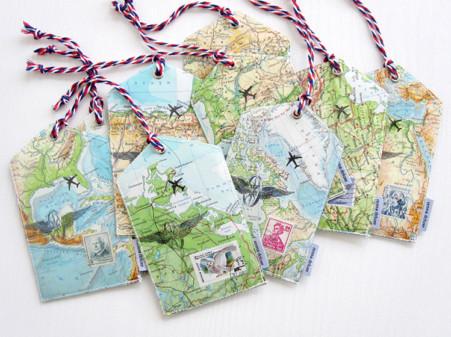 Kofferanhaenger, Gepaeckanhaenger, luggage tag, atlas, weltkarte, briefmarke, renna deluxe