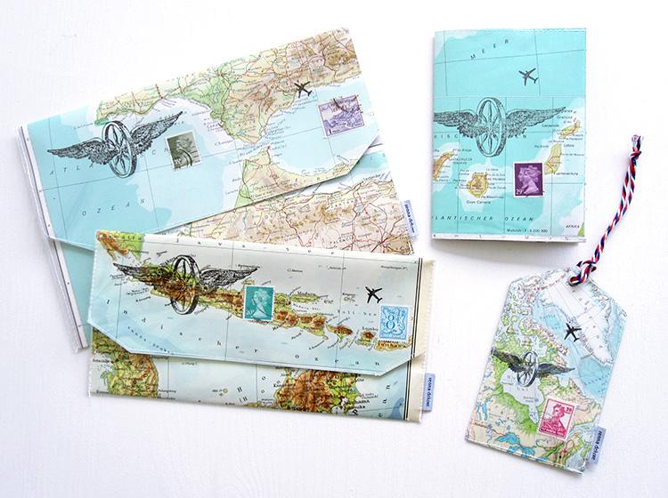 Reiseetui, Reiseaccessoire, Tasche für Reiseunterlagen, reisedokumente,Kofferanhaenger, Gepaeckanhaenger, luggage tag, atlas, weltkarte, briefmarke, renna deluxe