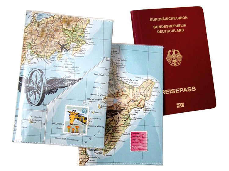 reisepasshülle, atlas, weltkarte, vintage, upcycling